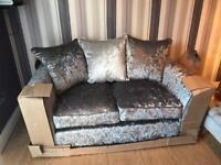 Velvet silver jewel 2 seater sofa BRAND NEW