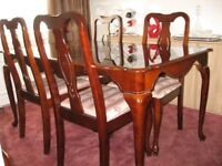 matching table 4 chairs & console table