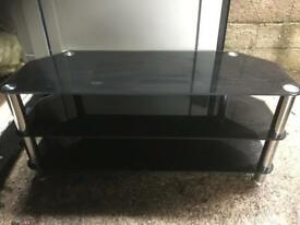 Large black glass Tv stand with FREE DELIVERY PLYMOUTH AREA