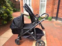 Uppababy Vista double pushchair. £350. 2016 model. Black. Maxi-Cosi car seat also available, £75.