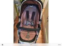 iCandy Peach Black Jack Stroller, MaxiCosi Car Seat and Extras