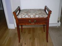 VINTAGE MAHOGANY PIANO STOOL.FLAP DOWN DRAWER.GREAT CONDITION