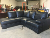 Black leather corner sofa DELIVERY AVAILABLE