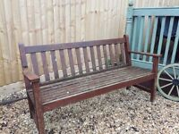 Solid teak garden seat