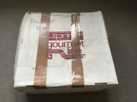 Boxed Vintage Spring Switzerland Stainless Steel FONDUE SET with 6 Forks & Serving Bowls Used Once