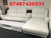 *NEW* MILAN WHITE LEATHER CORNER SOFA + SWIVEL CHAIR £799 - LAST ONE