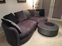 Sofa, Snuggle Chair, and Puffe