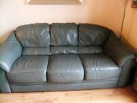 Leather 3 Seater Sofa & 2 Armchairs Free