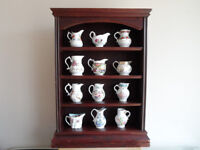 ROYAL WORCESTER HISTORIC JUG COLLECTION FULL SET WITH WOODEN SHELF UNIT