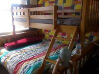 Wooden pine triple bunkbed