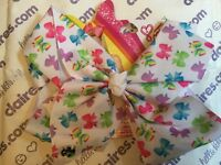 Large multicoloured bow print jojo bow - jojo siwa
