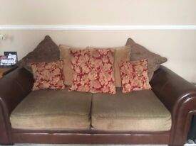 Three Seater Pillow Back Leather & Fabric Sofa With Matching Armchair