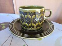 Hornsea Lancaster Heirloom green cups, saucers, sugar, milk jug - different Hornsea stamps