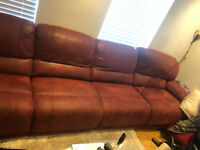 HARVEYS 6 SEATER LEFT CORNER SOFA DUAL MANUAL RECLINER FAUX SUEDE WITH STORAGE FOOTSTOOL .USED