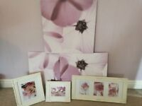 3 large lilac canvas and 3 framed pink flower pictures