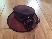 Ladies beautiful deep red hat by Jacqueline Meszaros
