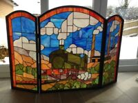 Beautiful Antique stained glass fire guard