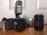 Pentax Super-A Film Camera with 50mm & 70-210mm Sigma Zoom lens