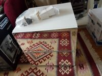 MIRRORED WHITE BEDSITE TABLE BRAND NEW