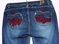 Apple Bottom jeans with red embroidered logo & fading - ladies size 5-6