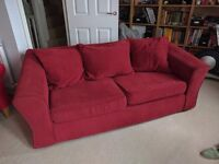 Pair of red sofas