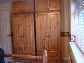 2 x antique pine wardobes with 2 drawers under and top boxes included excellent condition