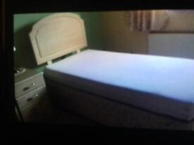 Headboard, mattress and bed base with draws in the bed base