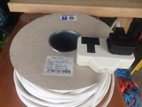 2 x 100m 3 core 1.5mm ended electric cable. White. £29 each.