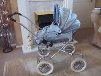 vintage silver cross dolls pram/pushchair