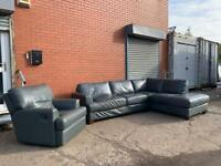 Grey leather corner sofa & armchair delivery 🚚 sofa suite couch furniture