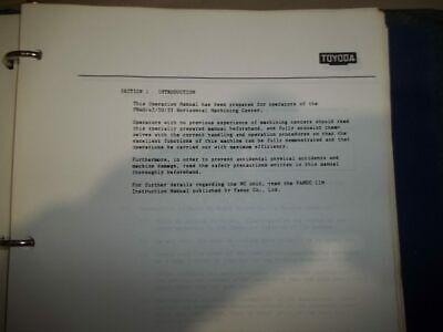 Toyoda Fh404555 Horizontal Machining Center Operations Manual