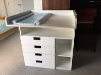 Ikea White Baby Changing Table with 4 drawers – Converts to children's desk with play surface.