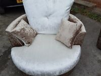 Fantastic Brand New brown/mink crushed velvet Cuddle swivel love chair.small mark. can deliver