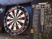 Winmau Dartboard / Dart Board, Cabinet, Darts, Chalk & Wall Attachements