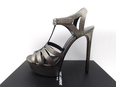 Yves Saint Laurent Bianca 105 Gris Pewter T Strap Platform Sandals 40.5 10.5