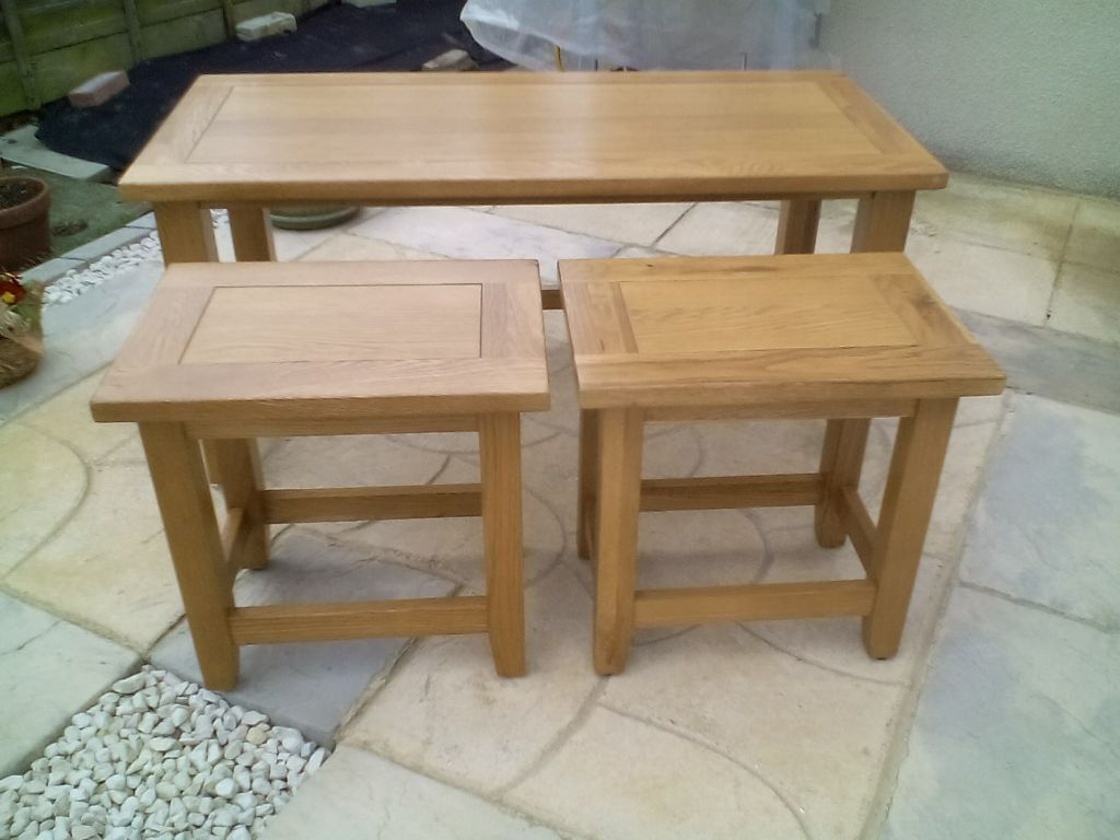 Long Coffee Table With Two Small Tables That Slide Underneath Nest Of