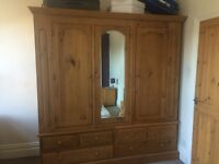 Triple door Large Solid Antique pine Wardrobe