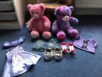 Two build a bears and accessories