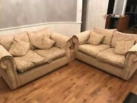 2 2 seater fabric sofas available free