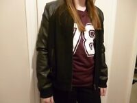 size 12 jacket with leather effect sleeves suit teen. never worn bargain