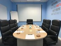 8 person board room table and 8 chairs