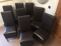8 High Backed, Brown Faux Leather Dining Chairs