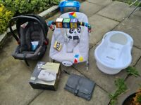 Chicco next to me crib Baby car seat,Nuby Bath,Nuby chair, Baby Einstein Bouncer, Steriliser