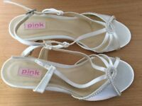 Unworn ivory satin shoes size 40