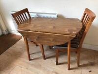 Oak dining table and chair set