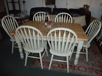"""Shabby Chic Farmhouse table & 6 Chairs painted in Farrow & Ball """"String"""""""