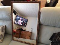 Wooden pattern framed mirror