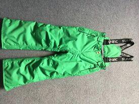 Boys Ski Salopettes size 116, green Surfanic Technical, £15