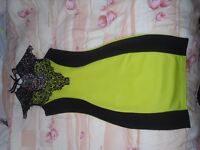 Stunning Black and Lime lace cocktail dress size S