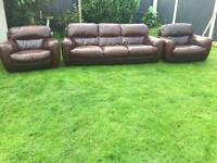 Italian leather luxury sofa suite. Sofitalia chestnut brown can deliver